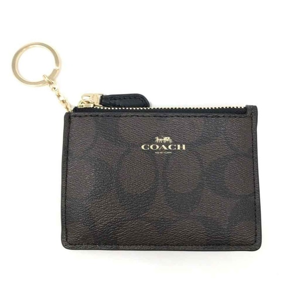 Coach Signature PVC Mini Skinny Brown Black Wallet bdf8e20d34e4d